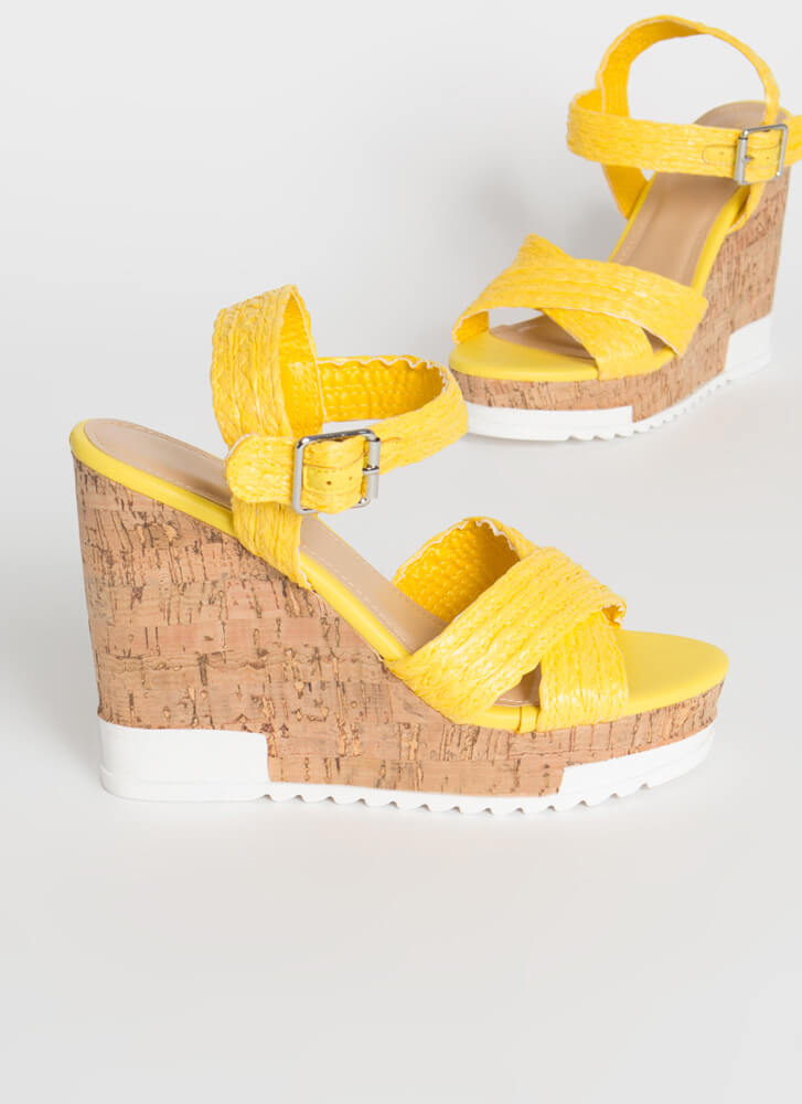 Play In Paradise Raffia Platform Wedges YELLOW