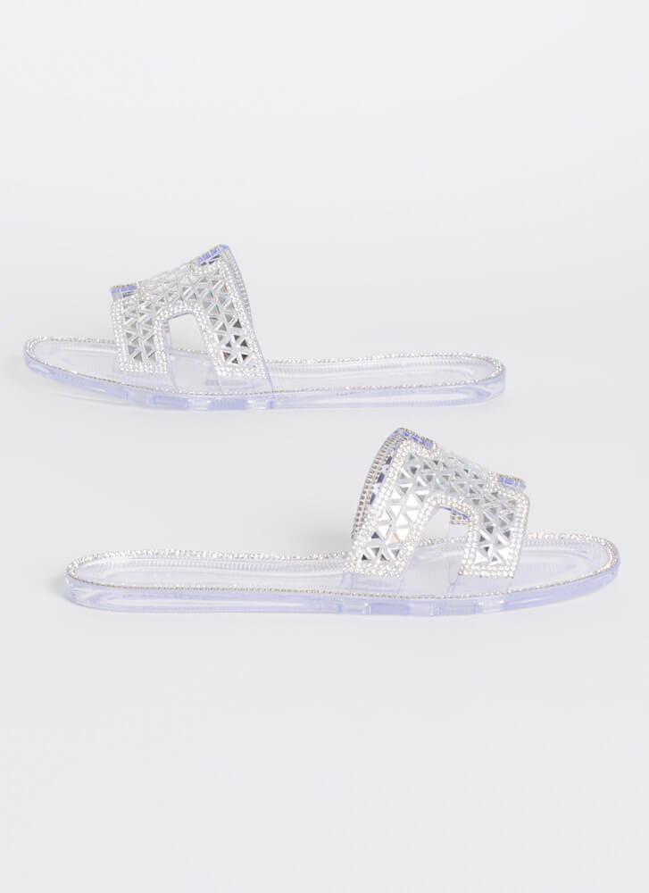 Love Triangles Jeweled Slide Sandals CLEAR
