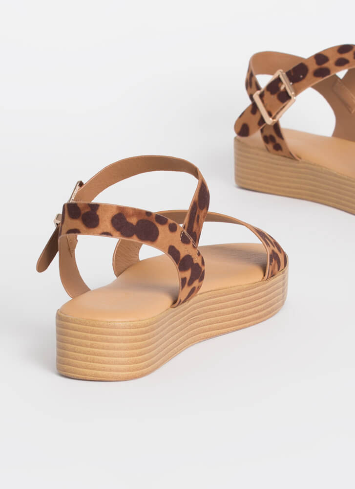Leopard At The Beach Ankle Strap Sandals LEOPARD