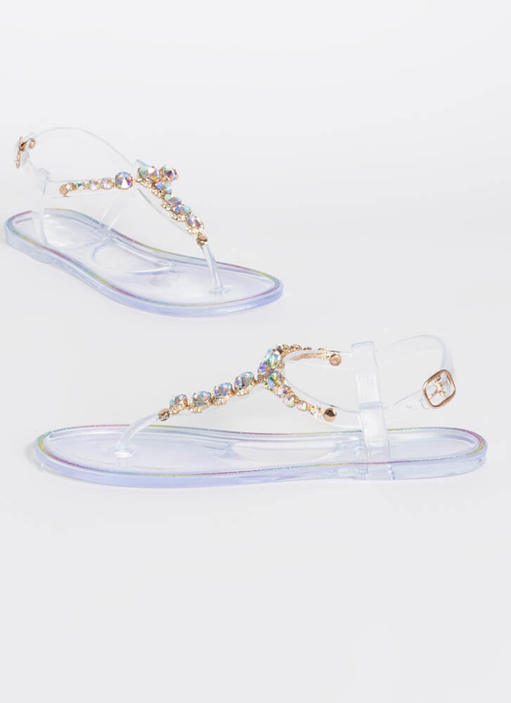 Jewel Collection Jelly T-Strap Sandals CLEAR