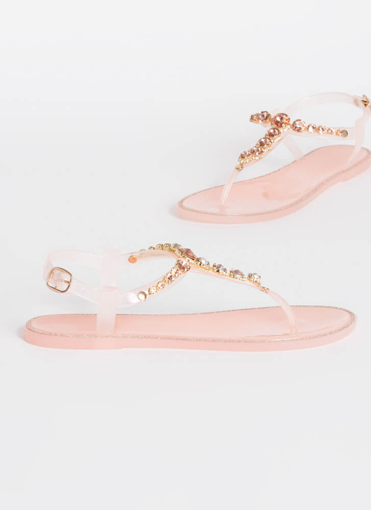 Jewel Collection Jelly T-Strap Sandals NUDE