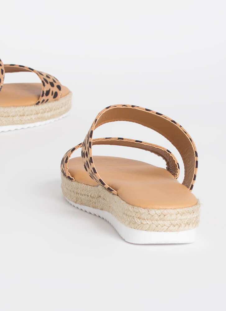Get Spotted Braided Slide Sandals CHEETAH