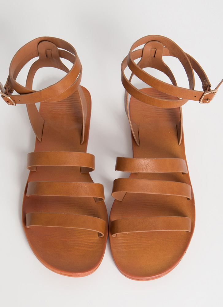 Three For Three Ankle Strap Sandals TAN