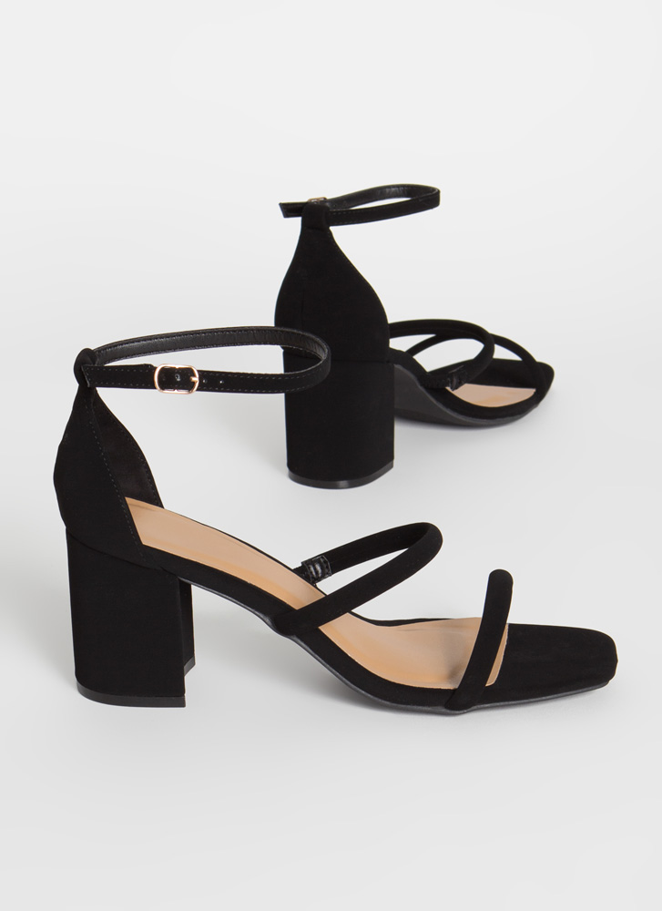 Forever Strappy Faux Nubuck Block Heels BLACK