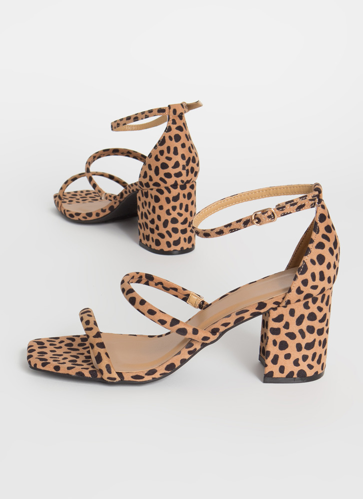 Forever Strappy Spotted Block Heels CHEETAH
