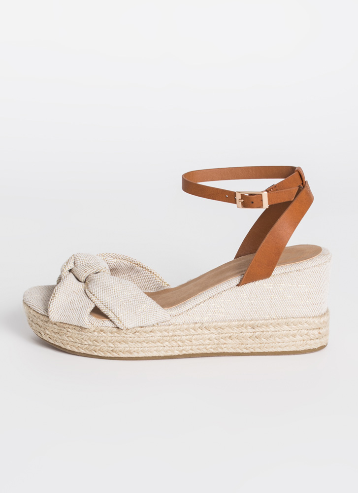 Tie The Knot Linen Platform Wedges NATURAL