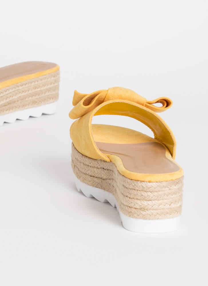 Bow For It Platform Slide Sandals AMBER