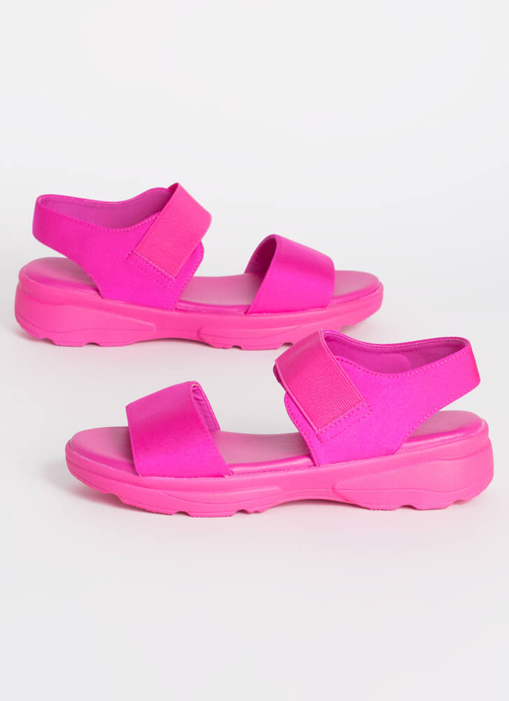 Run Don't Walk Sporty Platform Sandals HOTPINK