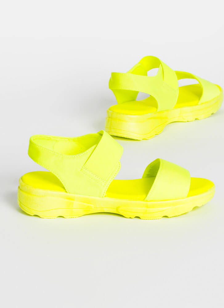 Run Don't Walk Sporty Platform Sandals NEONYELLOW
