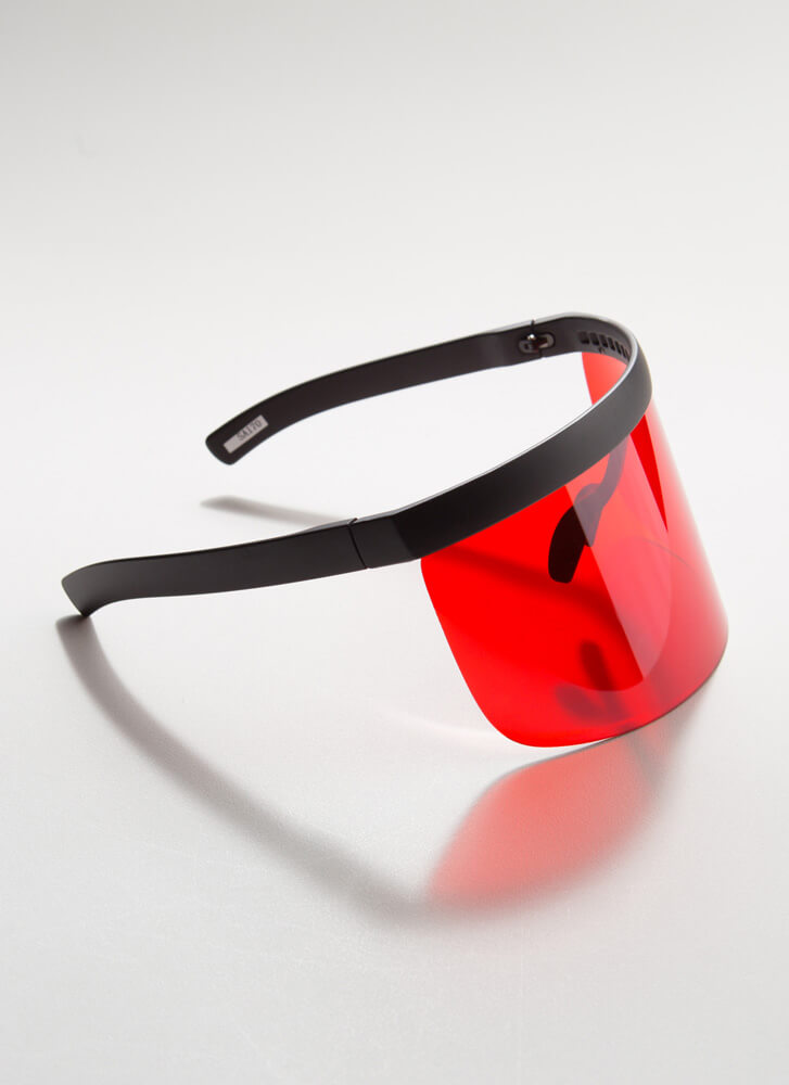 Keep Your Distance Visor Sunglasses RED