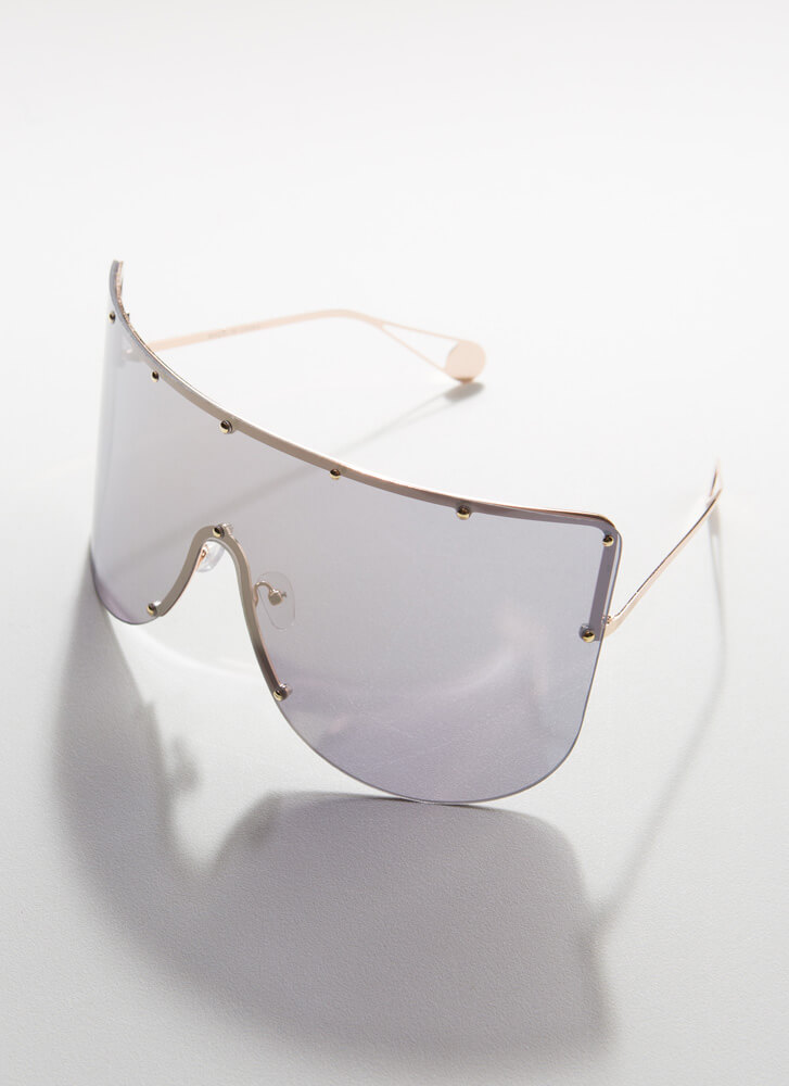 You Stud Oversized Shield Sunglasses BLACKGOLD