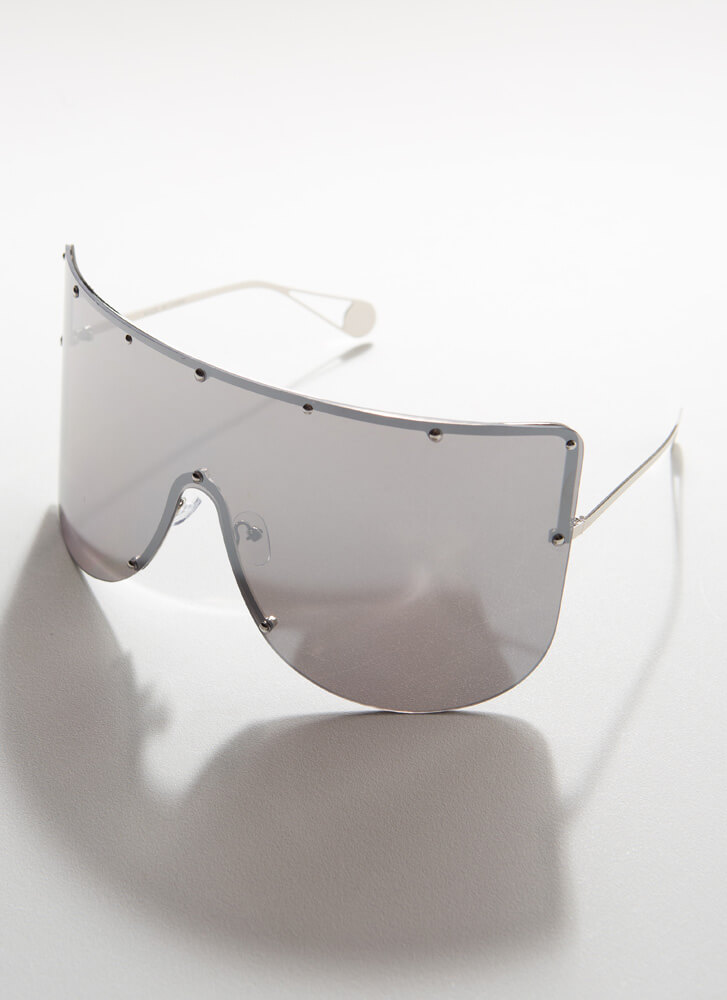 You Stud Oversized Shield Sunglasses BLACKSILVER