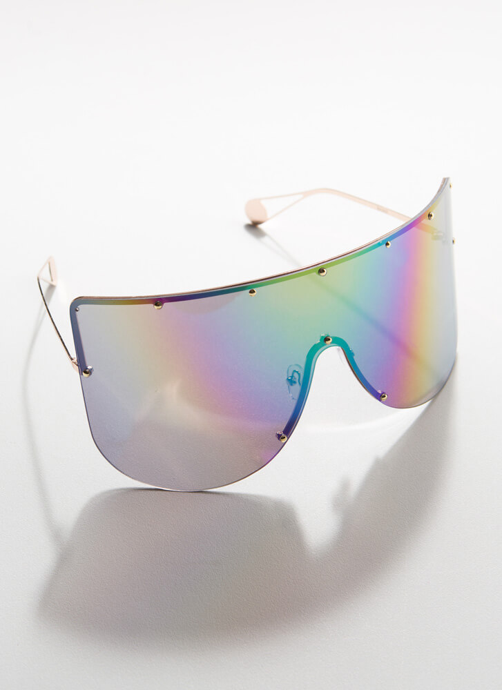 You Stud Oversized Shield Sunglasses IRIDESCENT