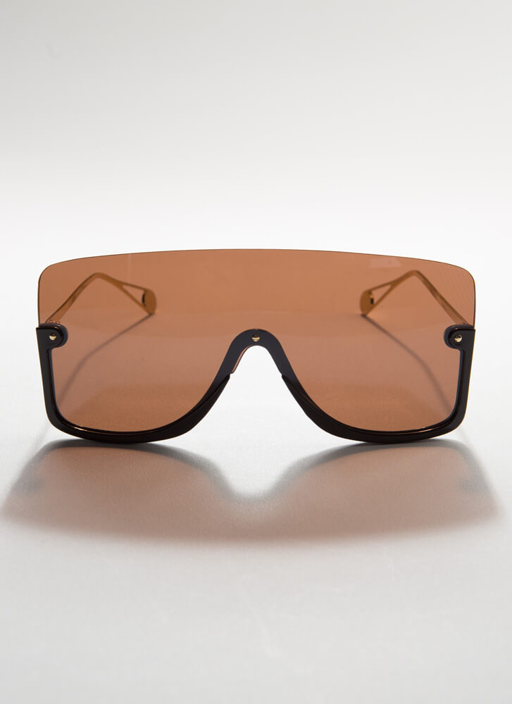 Going Under Oversized Goggle Sunglasses BROWN