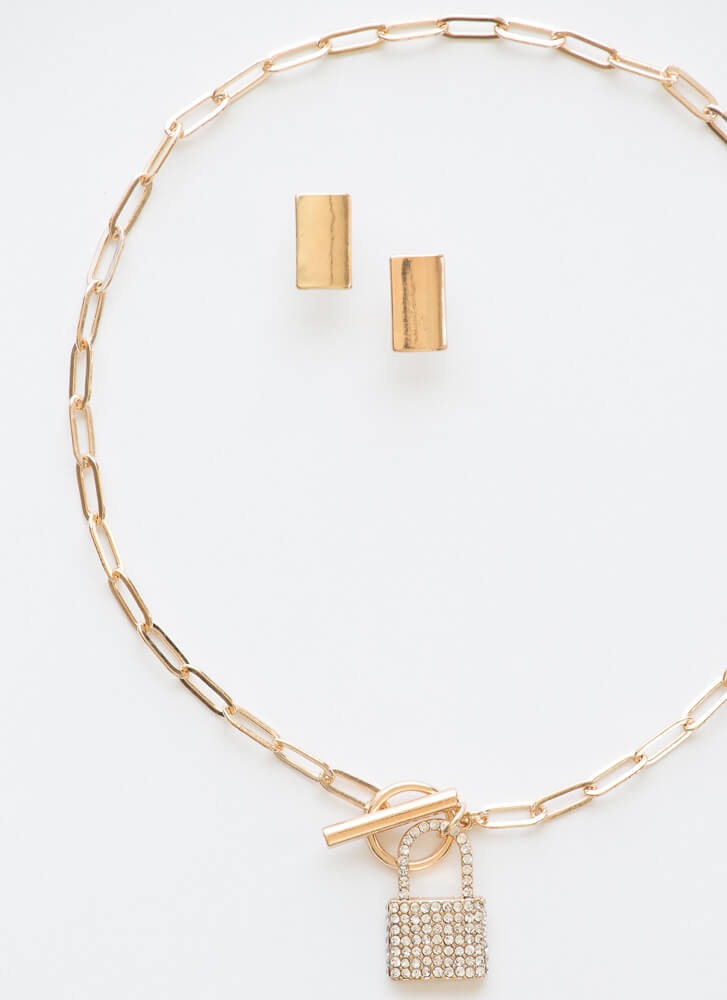 Locked In Jeweled Necklace Set GOLD