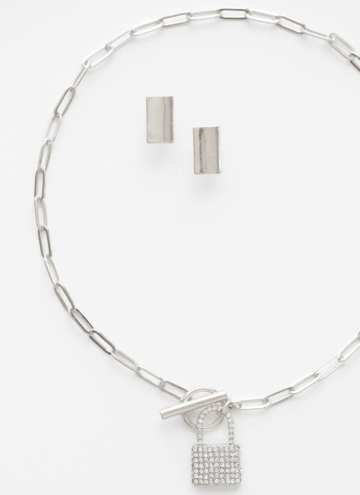 Locked In Jeweled Necklace Set SILVER