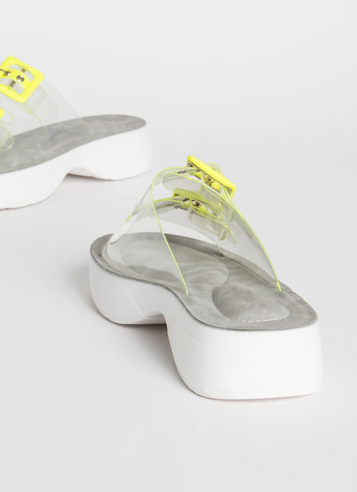 Clearly Sporty Platform Slide Sandals NEONYELLOW