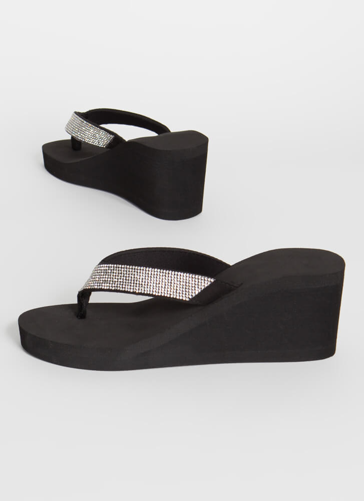 Sparkling Pool Wedge Thong Sandals BLACK