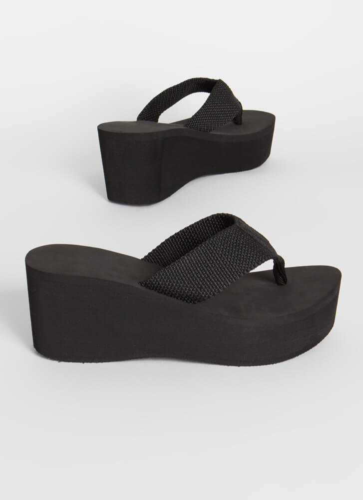 New Wave Platform Wedge Thong Sandals BLACK