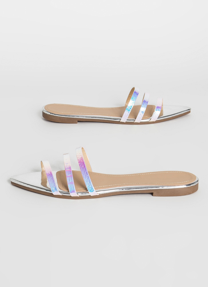 Mermaid Love Pointy Three Strap Sandals SILVER