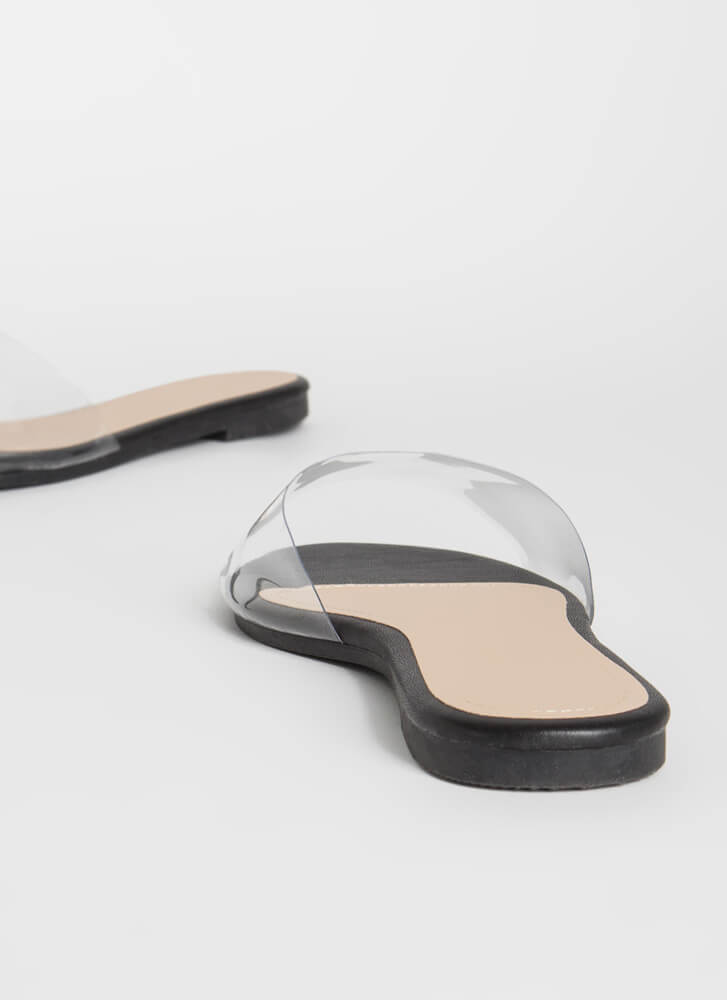 Feet First Clear Panel Slide Sandals BLACK