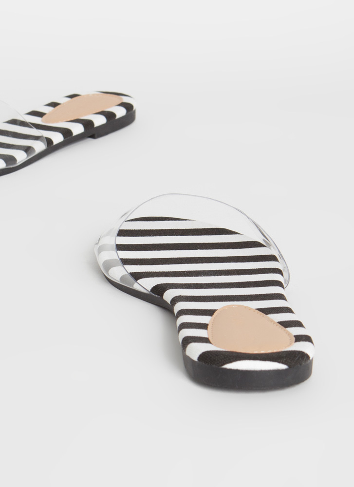 Feet First Clear Panel Slide Sandals BLACKWHITE