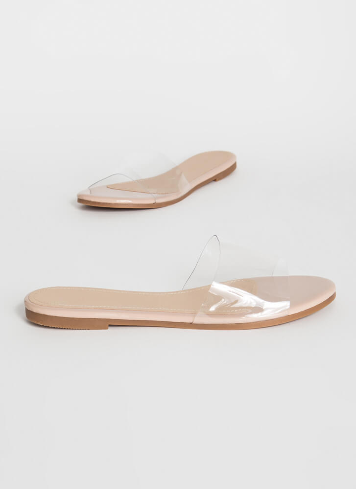 Feet First Clear Panel Slide Sandals NUDE