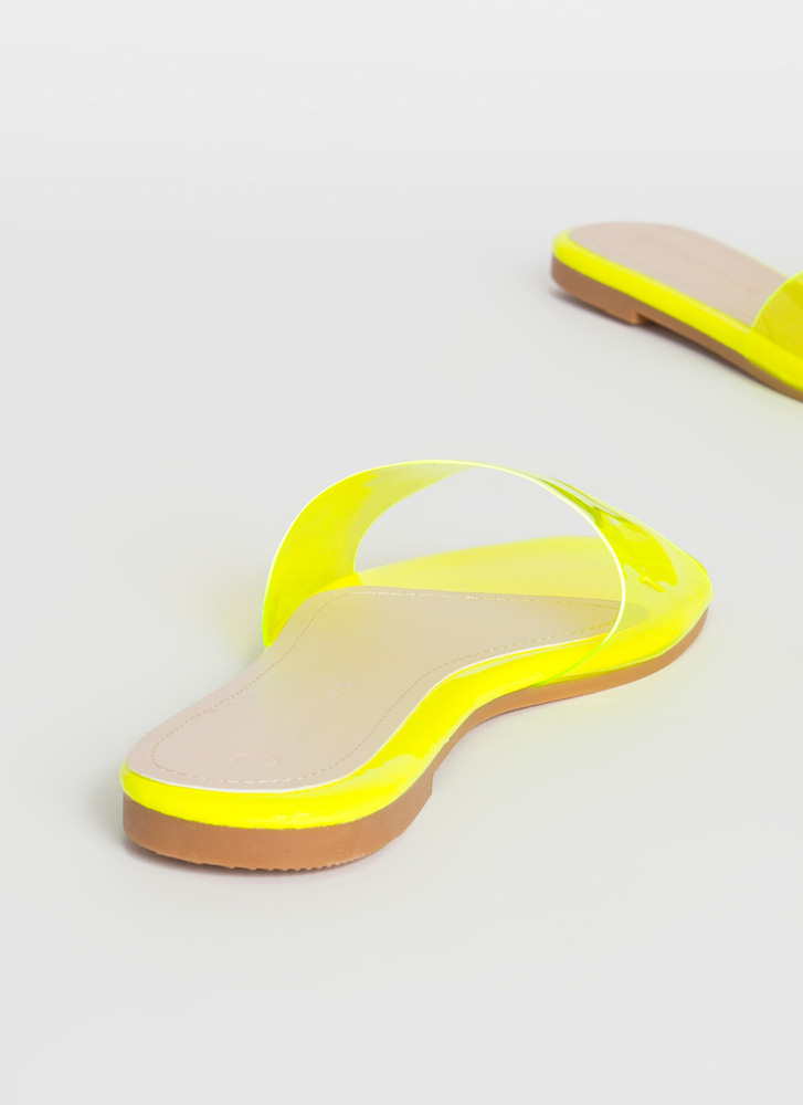 Feet First Clear Panel Slide Sandals YELLOW