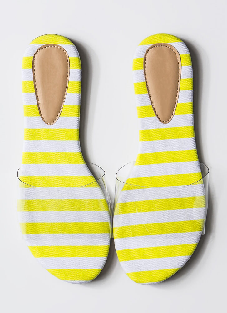 Feet First Clear Panel Slide Sandals YELLOWWHITE