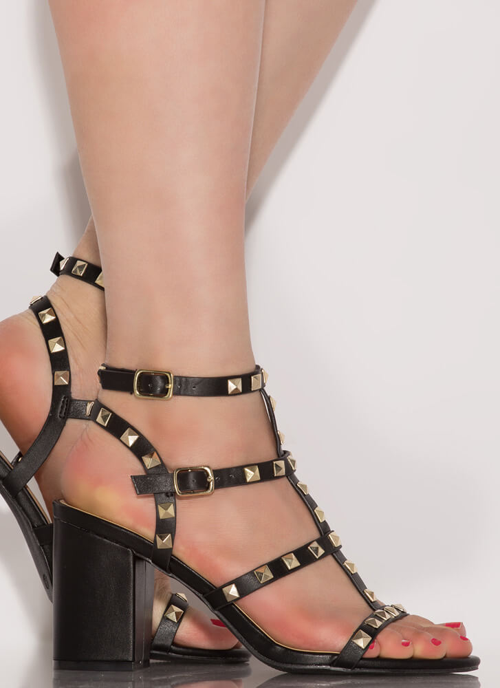 Chic City Chunky Studded Caged Heels BLACK