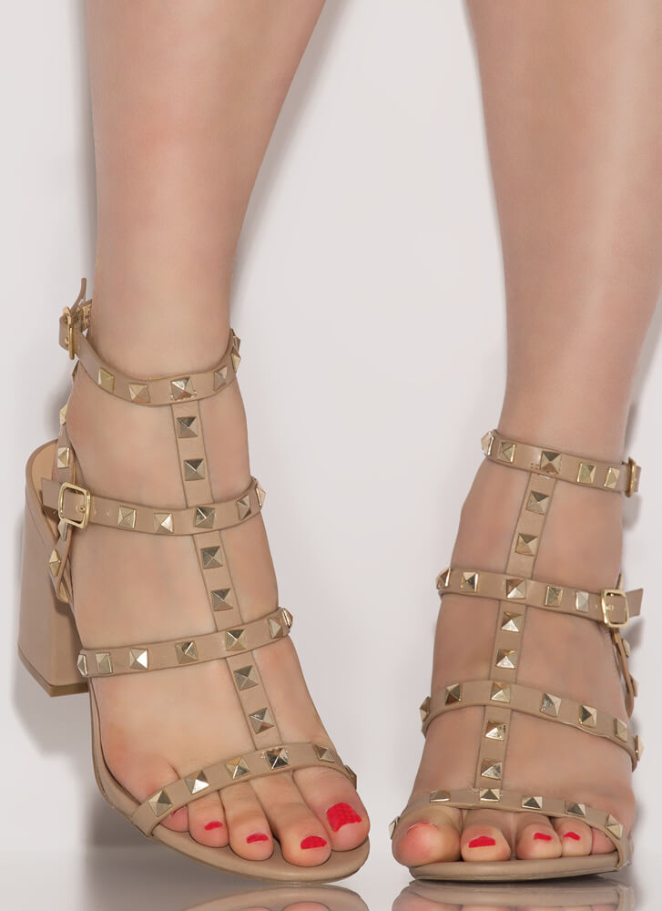 Chic City Chunky Studded Caged Heels NATURAL