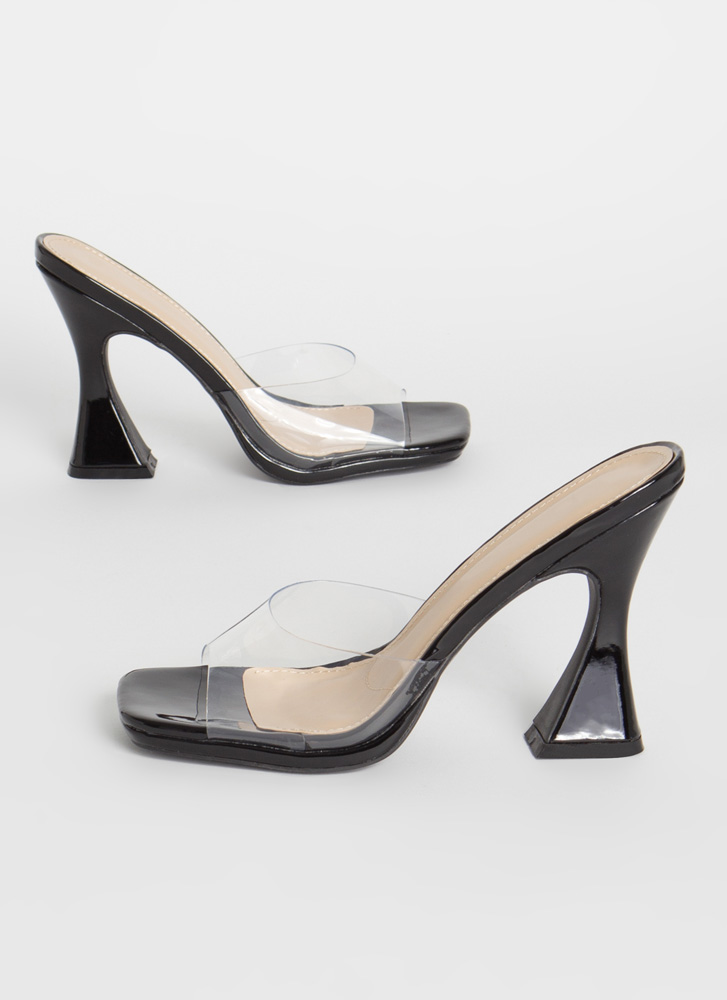 Put On A Pedestal Clear Mule Flats BLACK