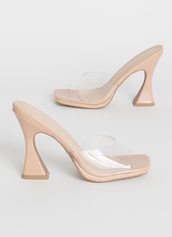 Put On A Pedestal Clear Mule Flats NUDE
