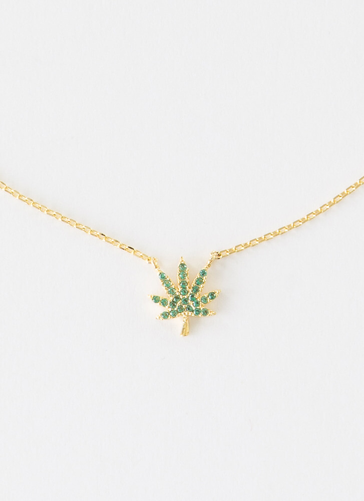 Little Mary Jane Jeweled Leaf Necklace GREEN