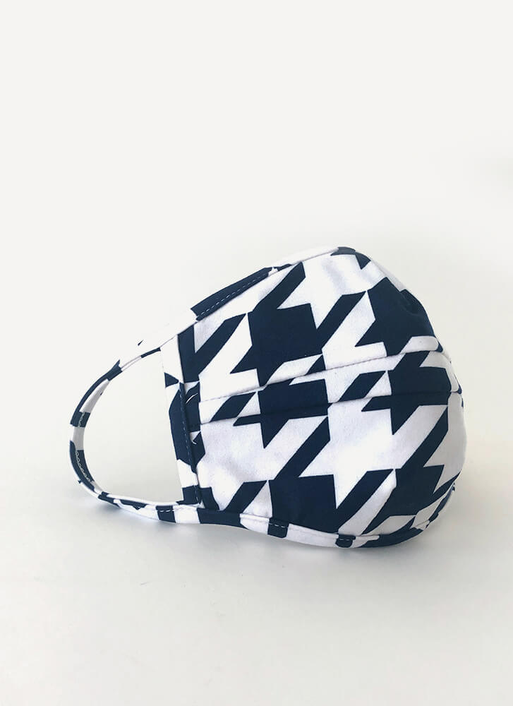 It's Fashion Houndstooth Face Mask NAVYWHITE