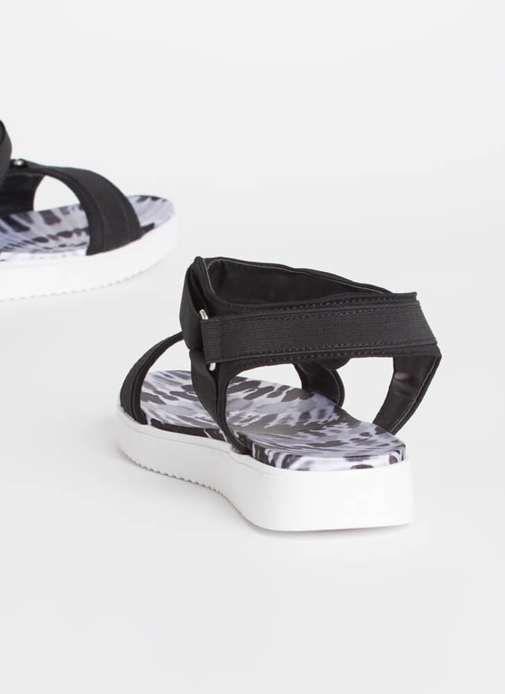 Walk This Way Patterned Harness Sandals BLACK