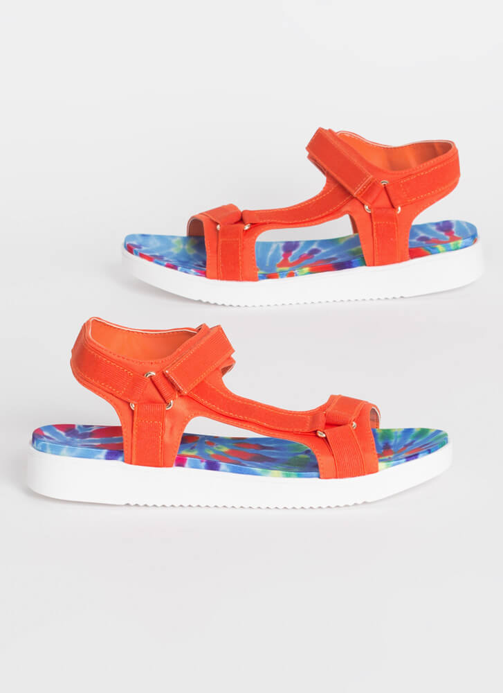 Walk This Way Patterned Harness Sandals ORANGE