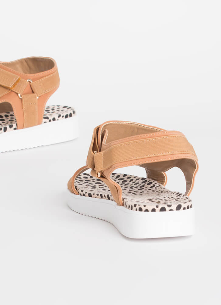 Walk This Way Patterned Harness Sandals TAUPE