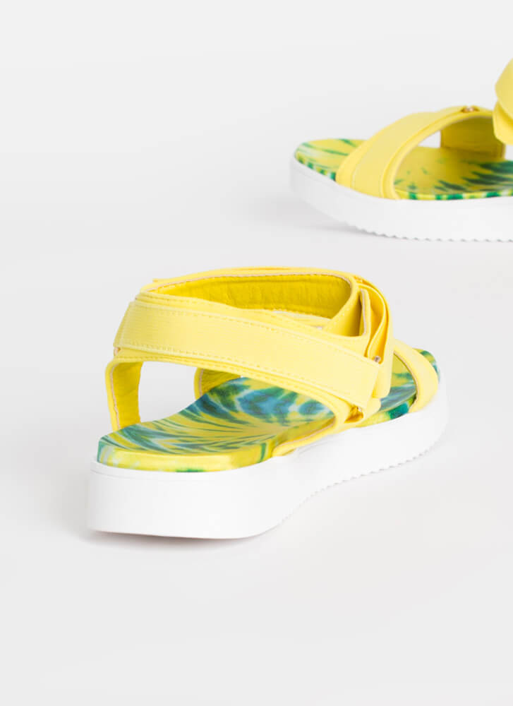 Walk This Way Patterned Harness Sandals YELLOW