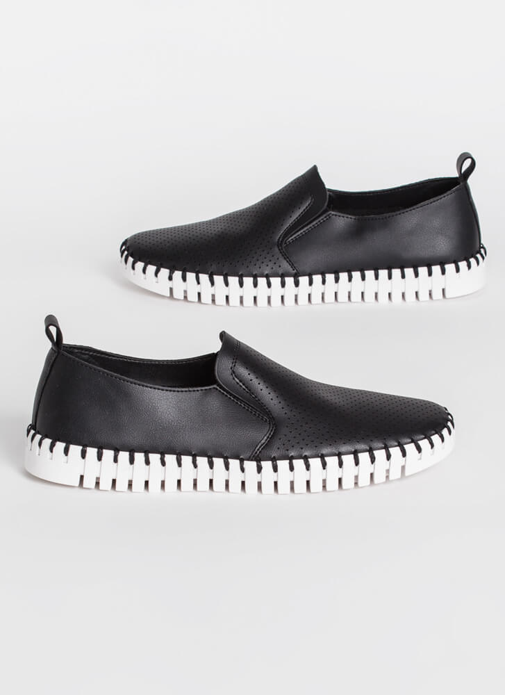 Bricklayer Faux Leather Slip-On Sneakers BLACK