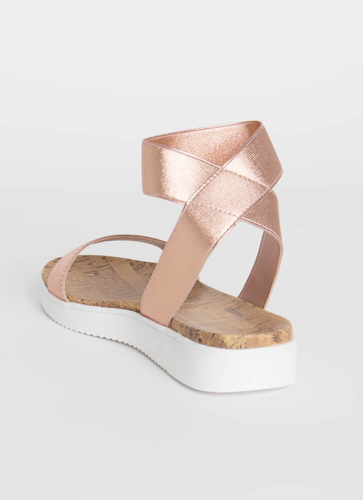 Banding Together Strappy Cork Sandals ROSEGOLD
