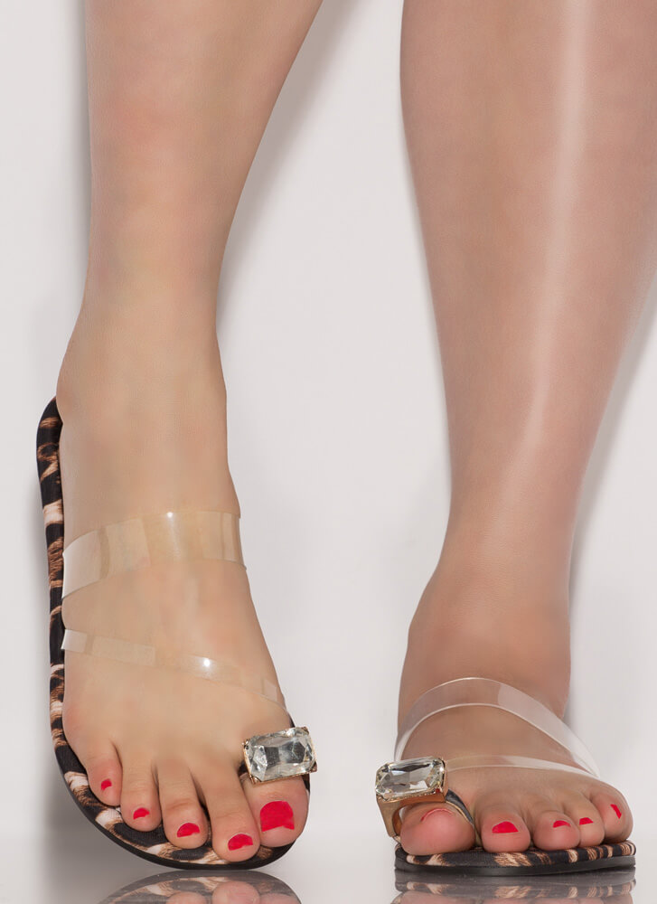 Put A Ring On It Clear Strap Sandals LEOPARD