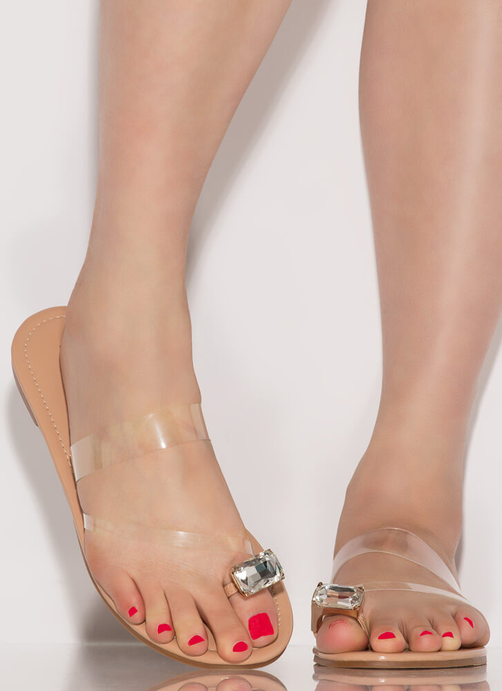 Put A Ring On It Clear Strap Sandals NUDE