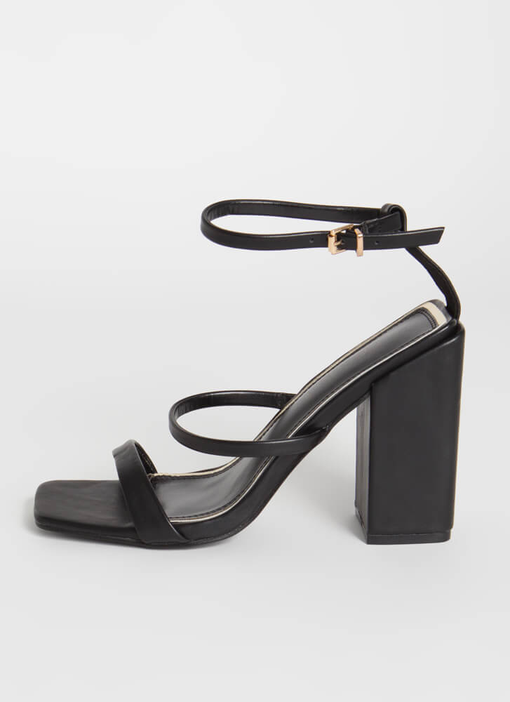 Charmed I'm Sure Strappy Chunky Heels BLACK