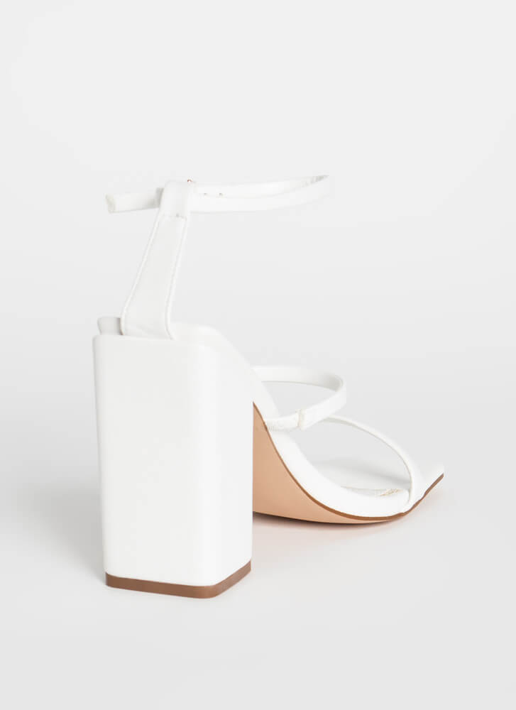 Charmed I'm Sure Strappy Chunky Heels WHITE