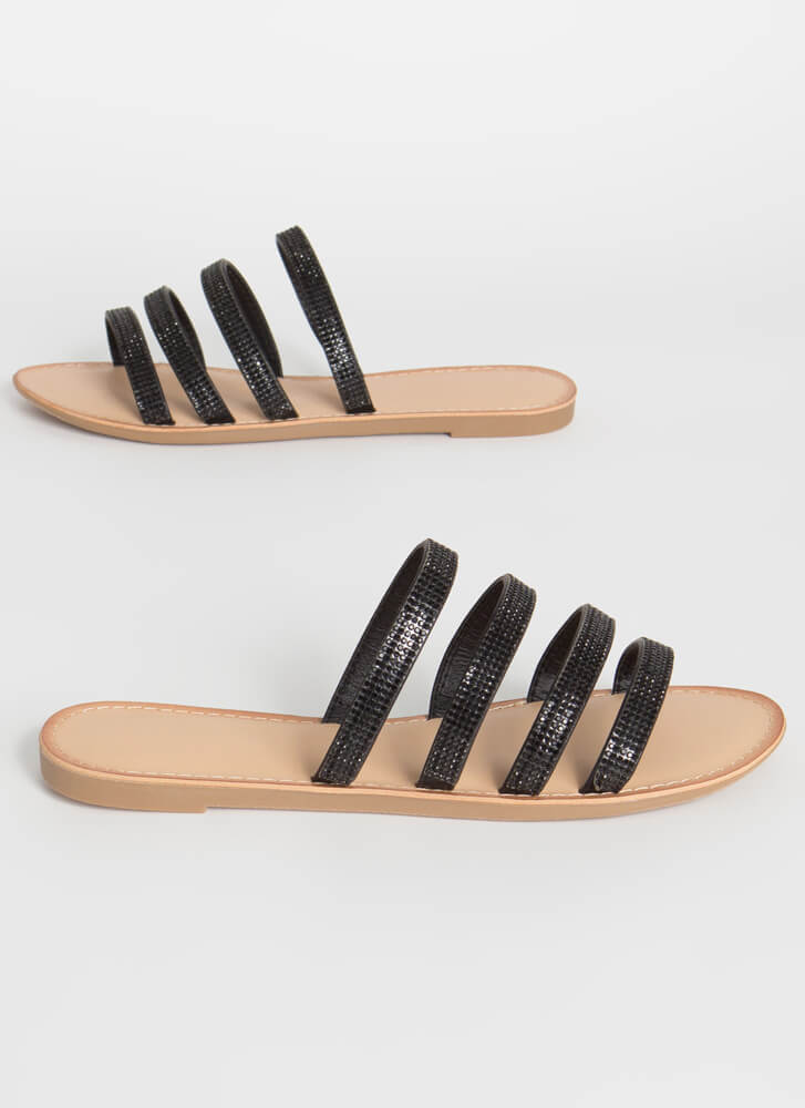 Four The Sparkle Strappy Slide Sandals BLACK
