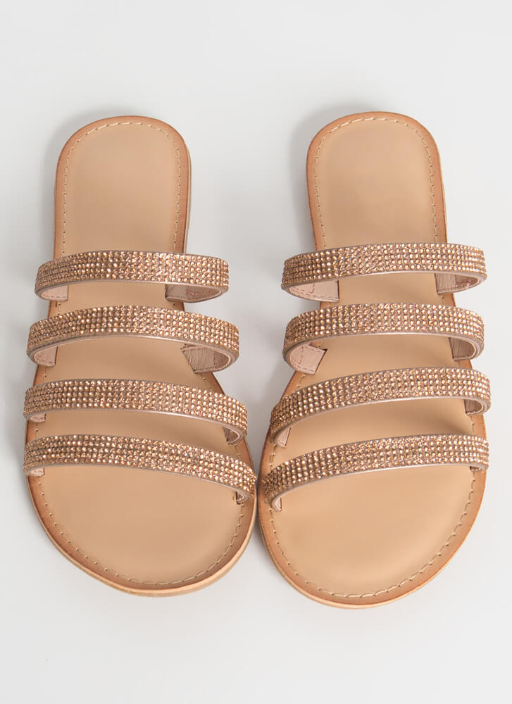 Four The Sparkle Strappy Slide Sandals ROSEGOLD