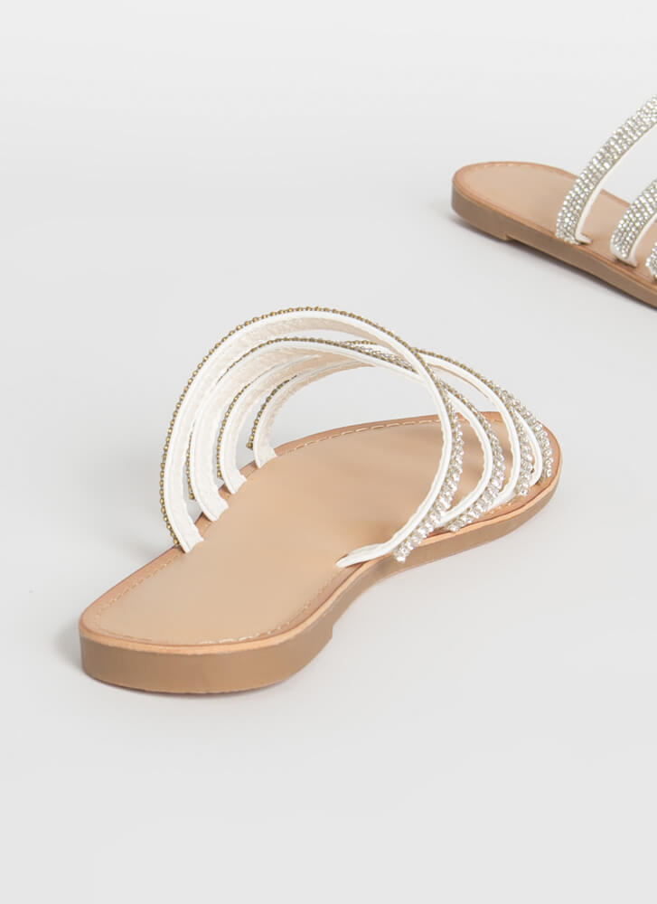Four The Sparkle Strappy Slide Sandals WHITE