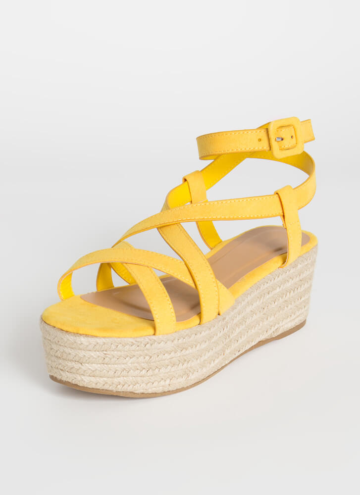 Coming Of Cage Braided Platform Sandals AMBER