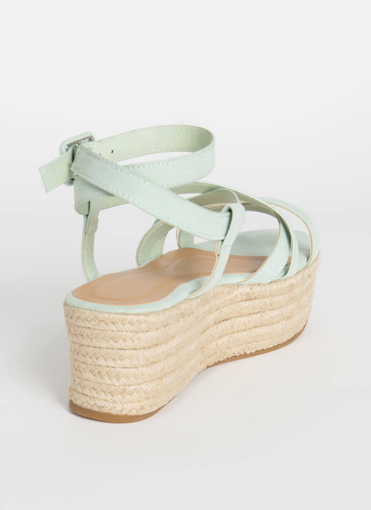 Coming Of Cage Braided Platform Sandals SEAFOAM